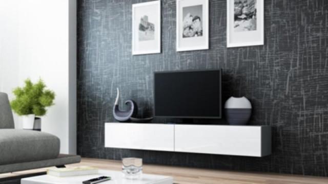 Televizní stolek VIGO 180 - šedá/bílá