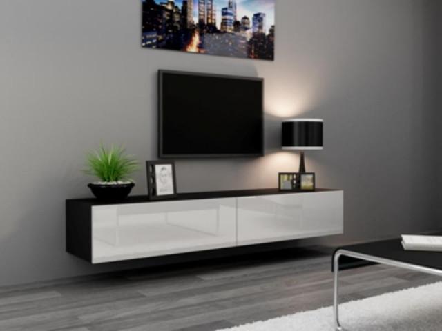 Televizní stolek VIGO 180 - černá/bílá