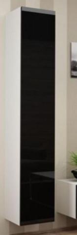 Vitrína VIGO vysoká, plná - bílá/černá