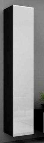 Vitrína VIGO vysoká, plná - černá/bílá