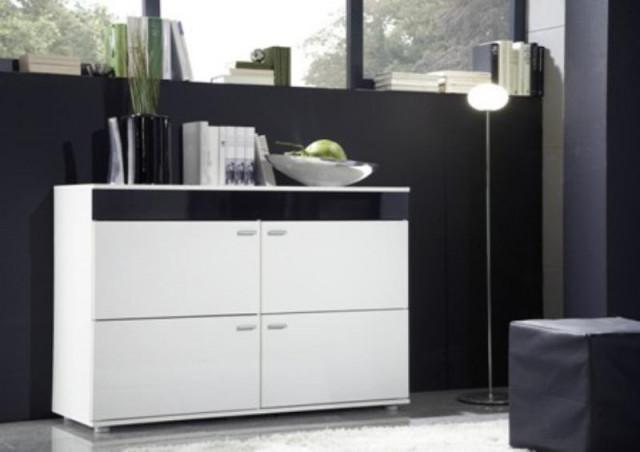Komoda LOGO II - bílá/bílá/černá
