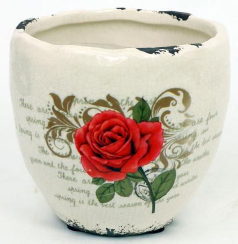 Keramický obal na květiny - s motivem růže