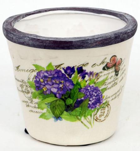 Keramický obal na květiny - hortenzie