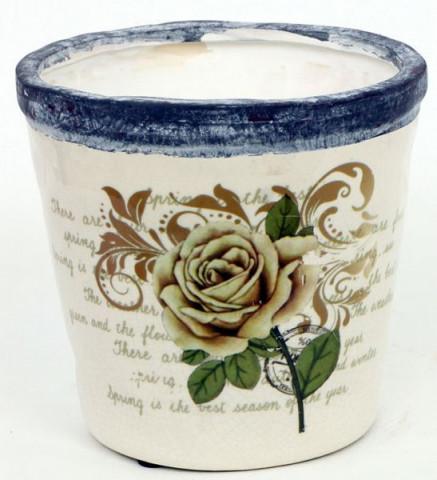Keramický obal na květiny - motiv růže
