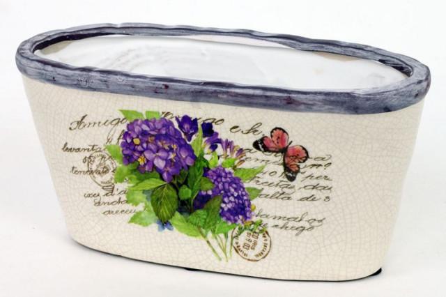 Keramický oválný obal na květiny - hortenzie