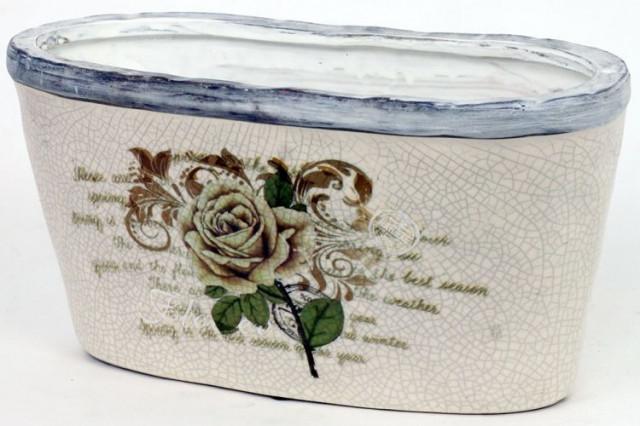 Keramický oválný obal na květiny - motiv růže