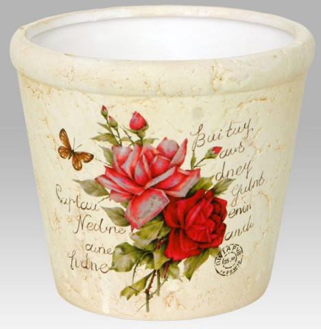 Keramický obal na květiny - růže