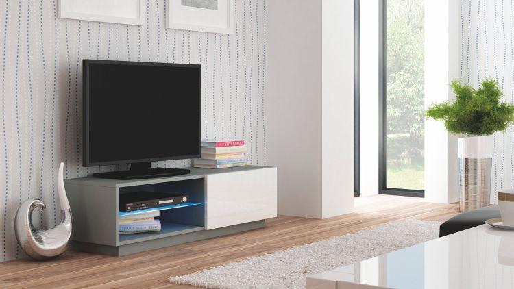 Halmar Televizní stolek Livo RTV-120S korpus černý/černá vysoký lesk
