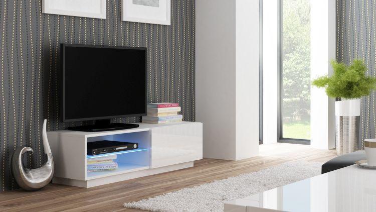 Halmar Televizní stolek Livo RTV-120S korpus bílý/bílá vysoký lesk