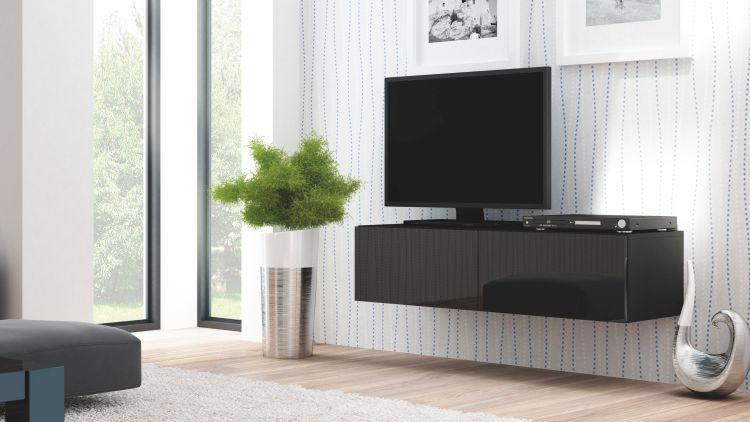 Halmar Televizní stolek Livo RTV-160W korpus černý/černá vysoký lesk