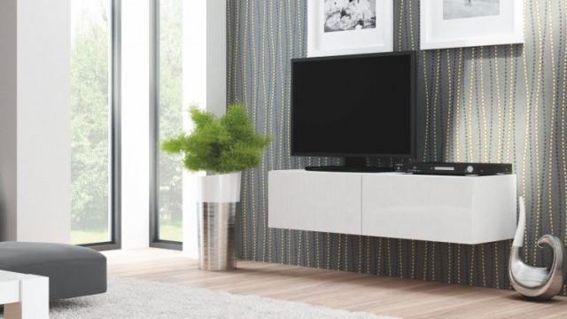 Televizní stolek Livo RTV-160W - korpus bílý/bílá vysoký lesk
