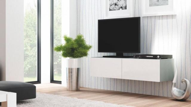 Televizní stolek Livo RTV-160W - korpus šedý/bílá vysoký lesk