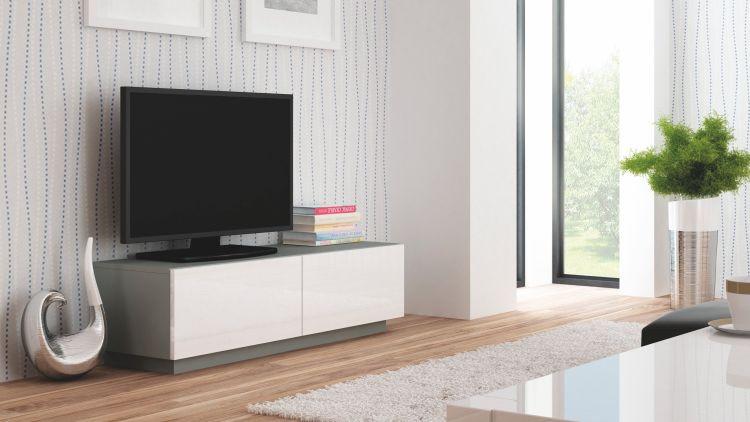 Halmar Televizní stolek Livo RTV-160S korpus černý/černá vysoký lesk
