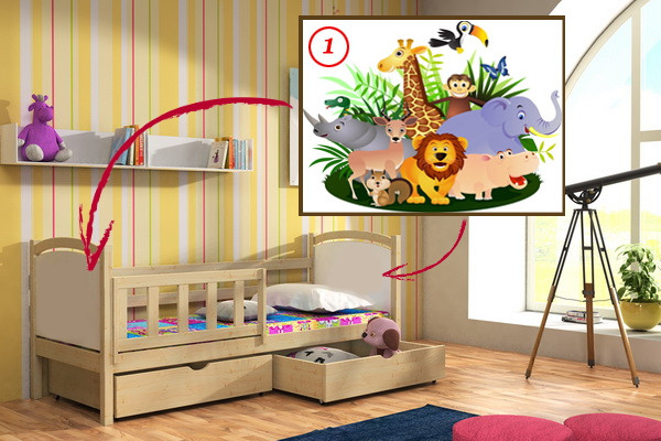 Vomaks Dětská postel DP 013 - 01 Safari KOMPLET 180 cm x 80 cm Bezbarvý ekologický lak