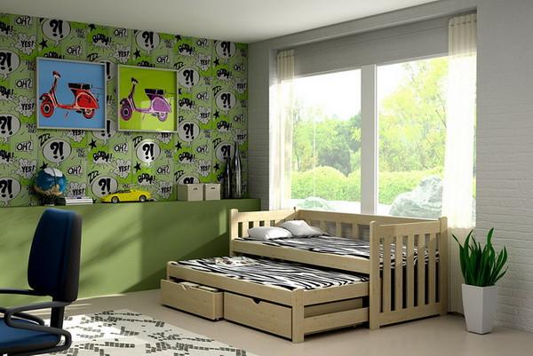 Dětská postel s výsuvnou přistýlkou DPV 002 + zásuvky