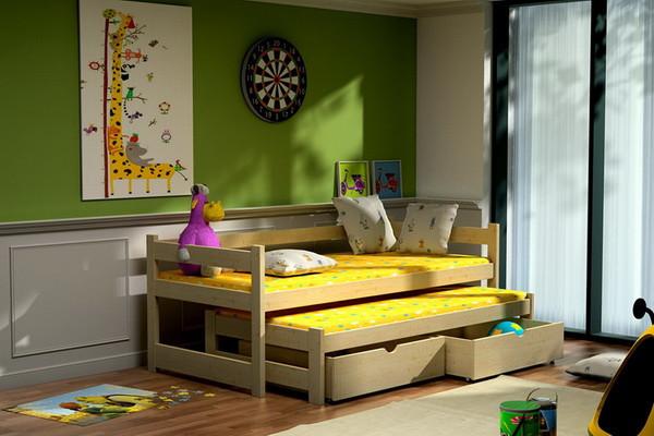 Dětská postel s výsuvnou přistýlkou DPV 003 + zásuvky