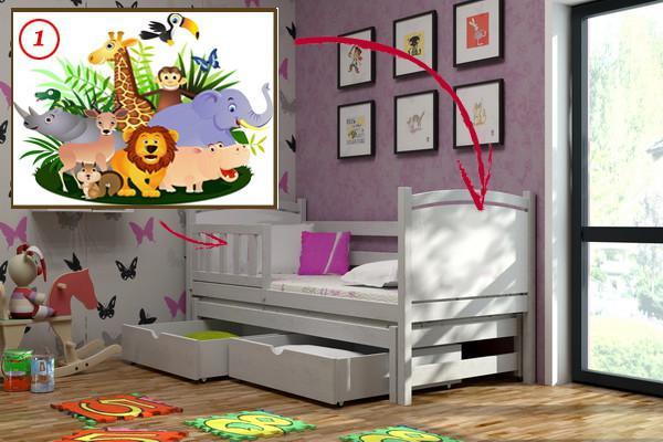 Vomaks Dětská postel s výsuvnou přistýlkou DPV 005 - 01 Safari KOMPLET 180 cm x 80 cm Bezbarvý ekologický lak