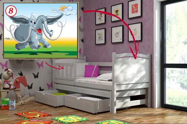 Vomaks Dětská postel s výsuvnou přistýlkou DPV 005 - 08 Mamut + zásuvky 180 cm x 80 cm Bezbarvý ekologický lak
