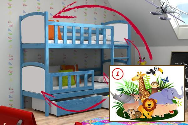 Patrová postel PP 010 - 01 Safari + zásuvky