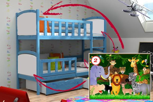 Patrová postel PP 010 - 02 Džungle + zásuvky