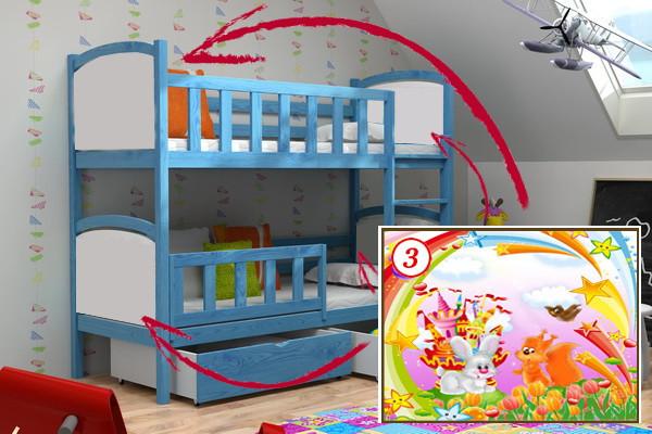 Patrová postel PP 010 - 03 Veverka a králík KOMPLET
