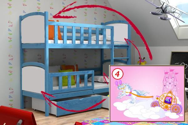 Patrová postel PP 010 - 04 Kočár + zásuvky