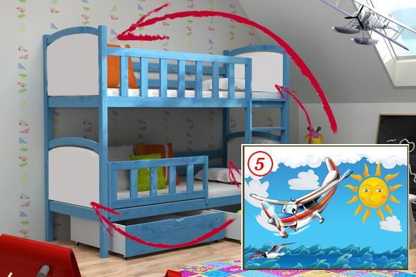 Patrová postel PP 010 - 05 Letadlo + zásuvky