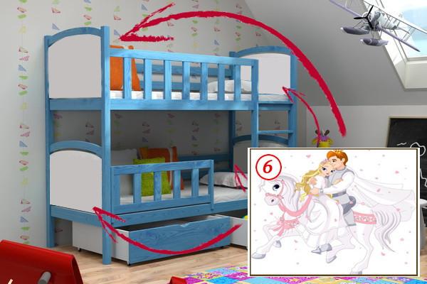 Patrová postel PP 010 - 06 Princ a princezna + zásuvky