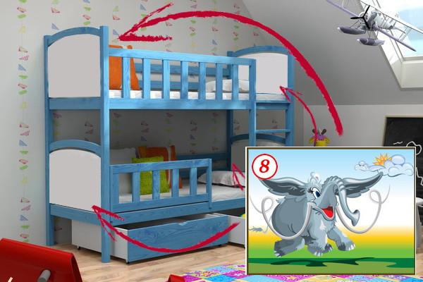 Patrová postel PP 010 - 08 Mamut + zásuvky