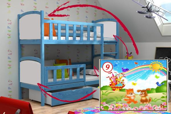 Patrová postel PP 010 - 09 Duhový zámek KOMPLET