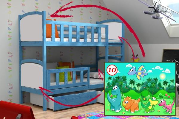 Patrová postel PP 010 - 10 Dinosauři + zásuvky