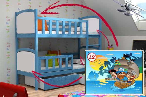 Patrová postel PP 010 - 12 Pirátská loď + zásuvky
