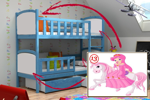Vomaks Patrová postel PP 010 - 13 Princezna na koni 180 cm x 80 cm Bezbarvý ekologický lak