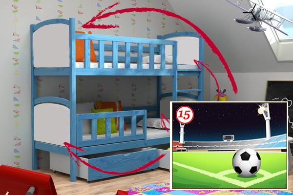 Patrová postel PP 010 - 15 Fotbalové hřiště + zásuvky