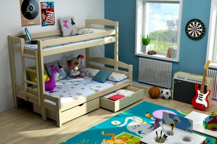 Vomaks Patrová postel s rozšířeným spodním lůžkem PPS 001 200 cm x 120 cm Moření olše