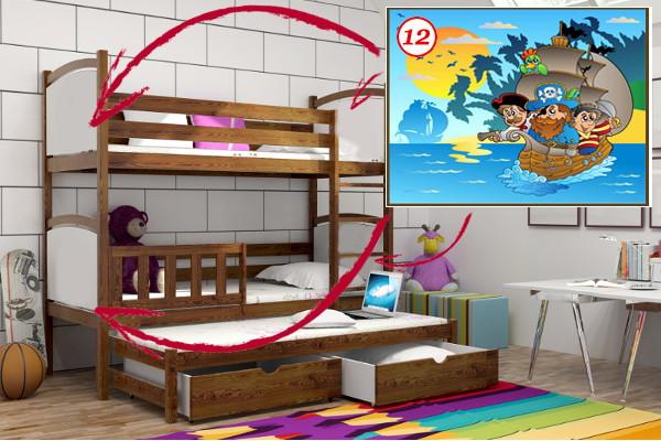 Patrová postel s výsuvnou přistýlkou PPV 005 - 12 Pirátská loď + zásuvky