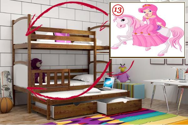 Patrová postel s výsuvnou přistýlkou PPV 005 - 13 Princezna na koni + zásuvky