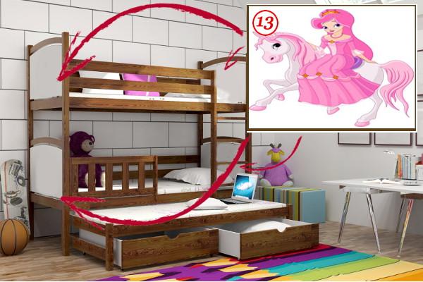 Vomaks Patrová postel s výsuvnou přistýlkou PPV 005 - 13 Princezna na koni 180 cm x 80 cm Bezbarvý ekologický lak