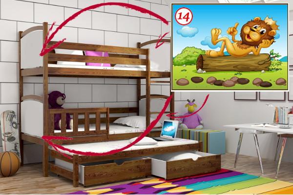 Patrová postel s výsuvnou přistýlkou PPV 005 - 14 Lev KOMPLET