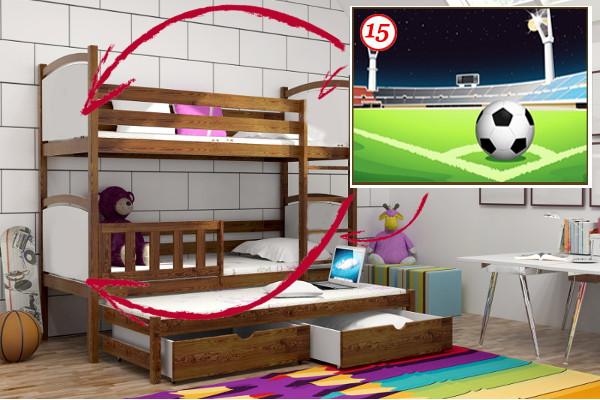 Patrová postel s výsuvnou přistýlkou PPV 005 - 15 Fotbalové hřiště KOMPLET
