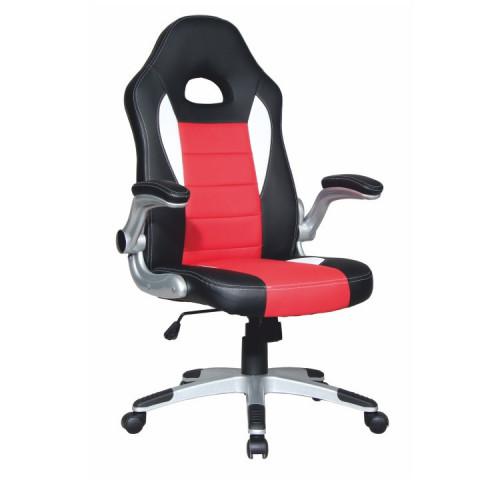Kancelářské křeslo MARVIN - černá ekokůže / červená ekokůže