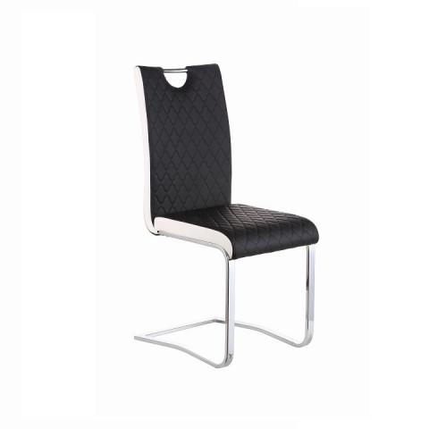 Jídelní židle IMANE - Chrom + černá ekokůže