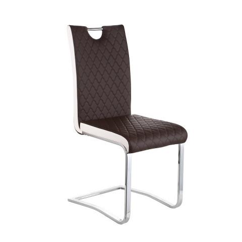 Jídelní židle IMANE - Chrom + hnědá ekokůže