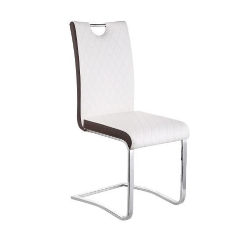 Jídelní židle IMANE - Chrom + bílá ekokůže