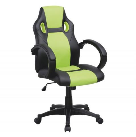 Kancelářské křeslo LESTER - černá ekokůže / zelená ekokůže