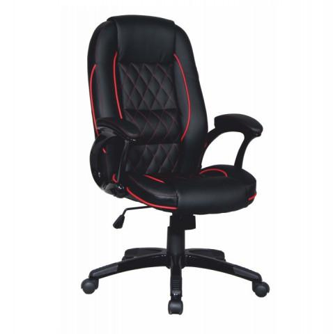 Kancelářská židle PORSHE - černá ekokůže / červený lem