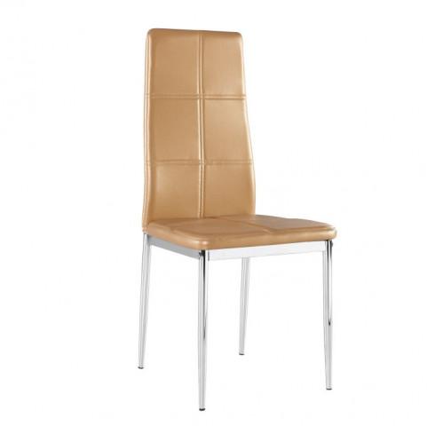 Židle LERA - světle hnědá ekokůže / chrom