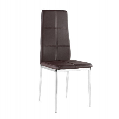 Židle LERA - hnědá ekokůže / chrom