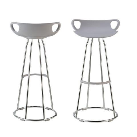 Barová židle GLADI - chrom + šedý plast
