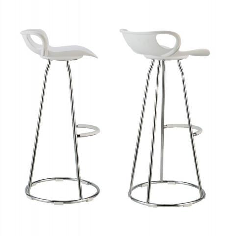 Barová židle GLADI - chrom + bílý plast